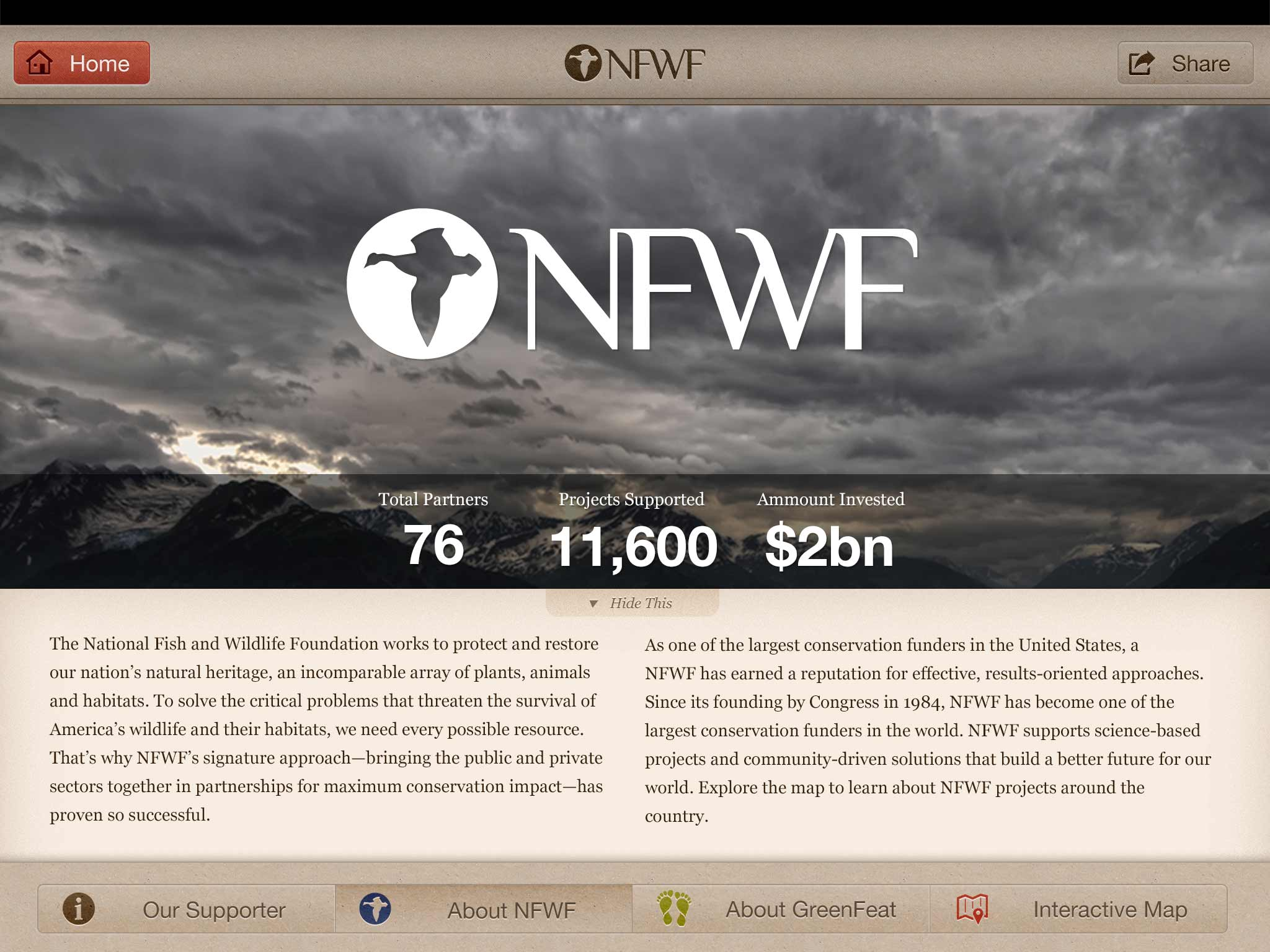 Screenshot: About NFWF